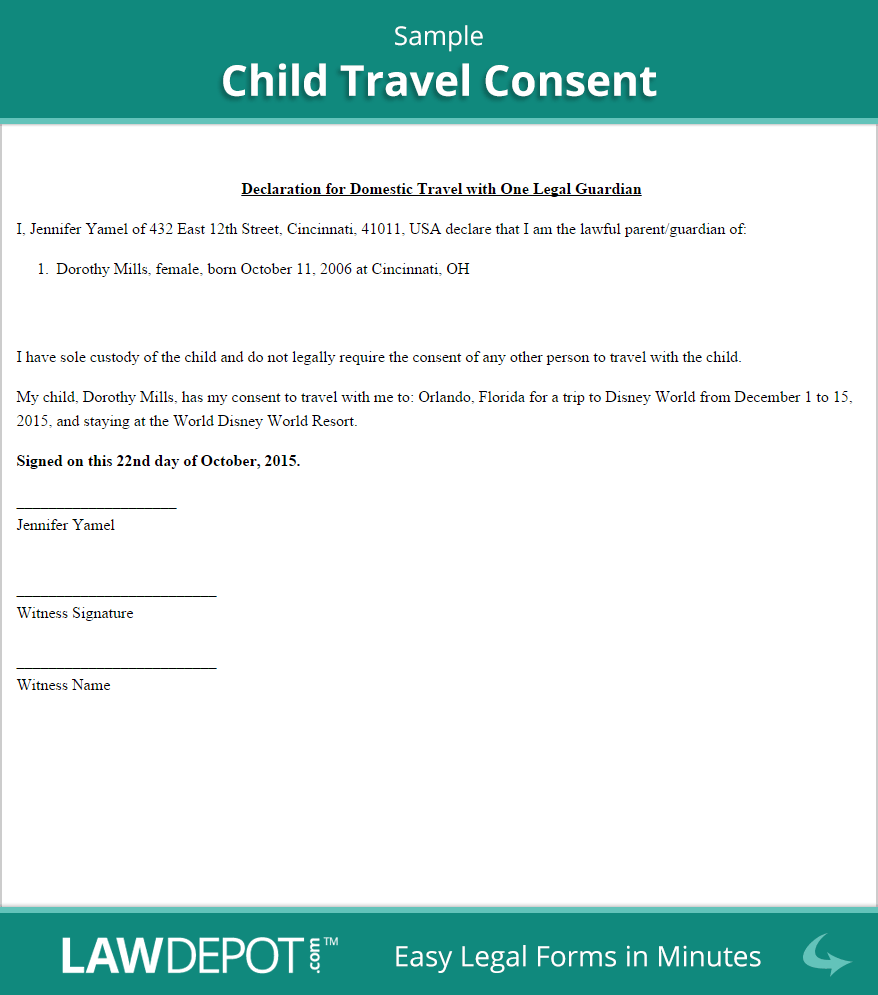 Authorization Letter For the Child to Travel