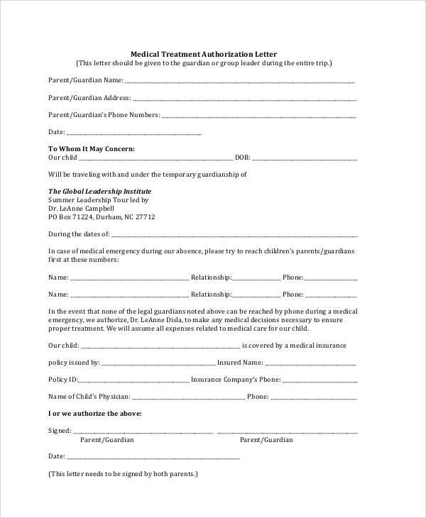 Sample Authorization Letter For Medical Treatment Children