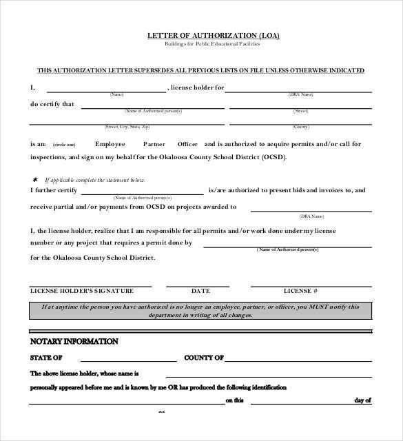 notarized authorization letter
