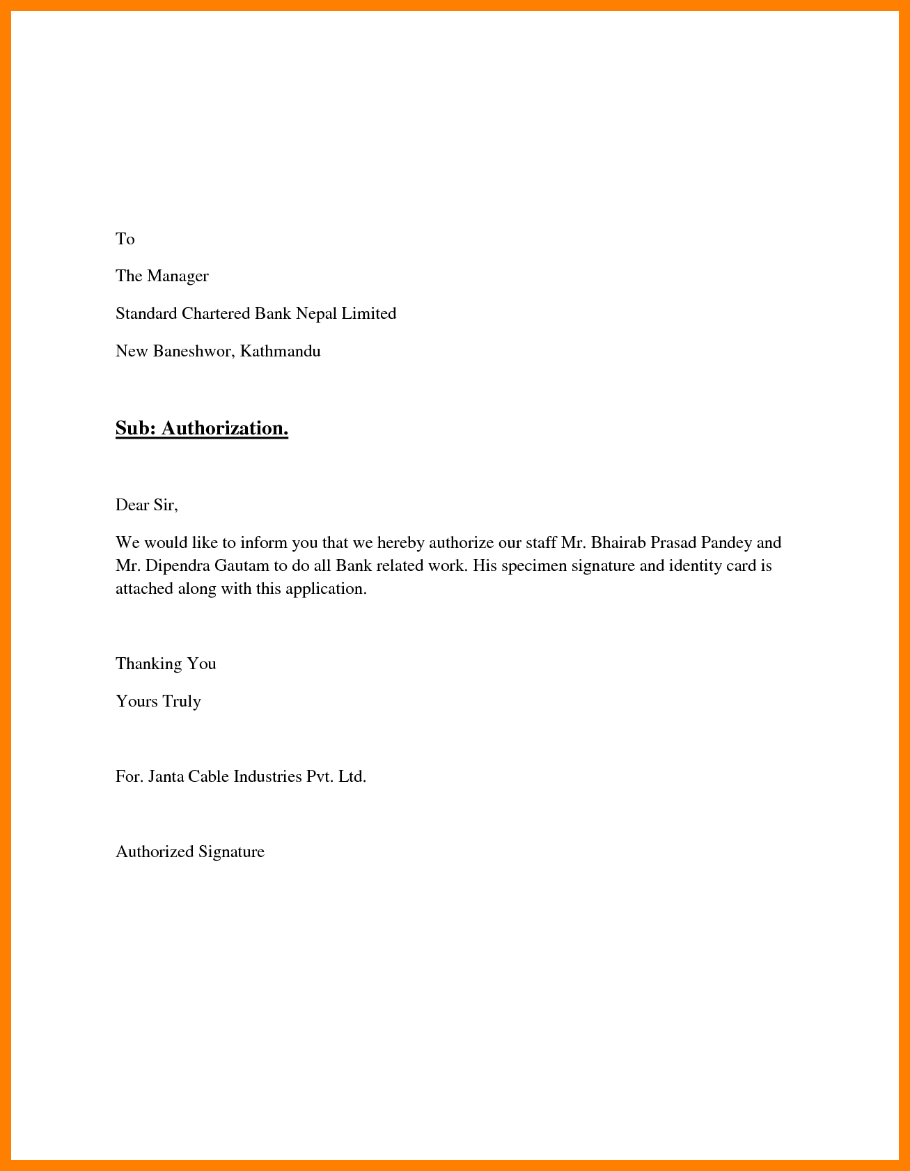 Signature Authorization Letter