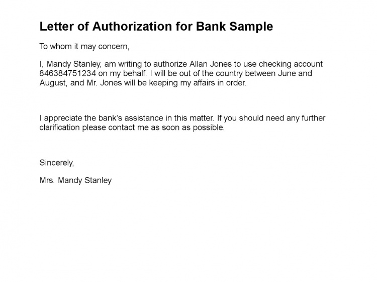 letter authorizing access to bank account authorization letter 25688 | letter of authorization for bank sample 108 1