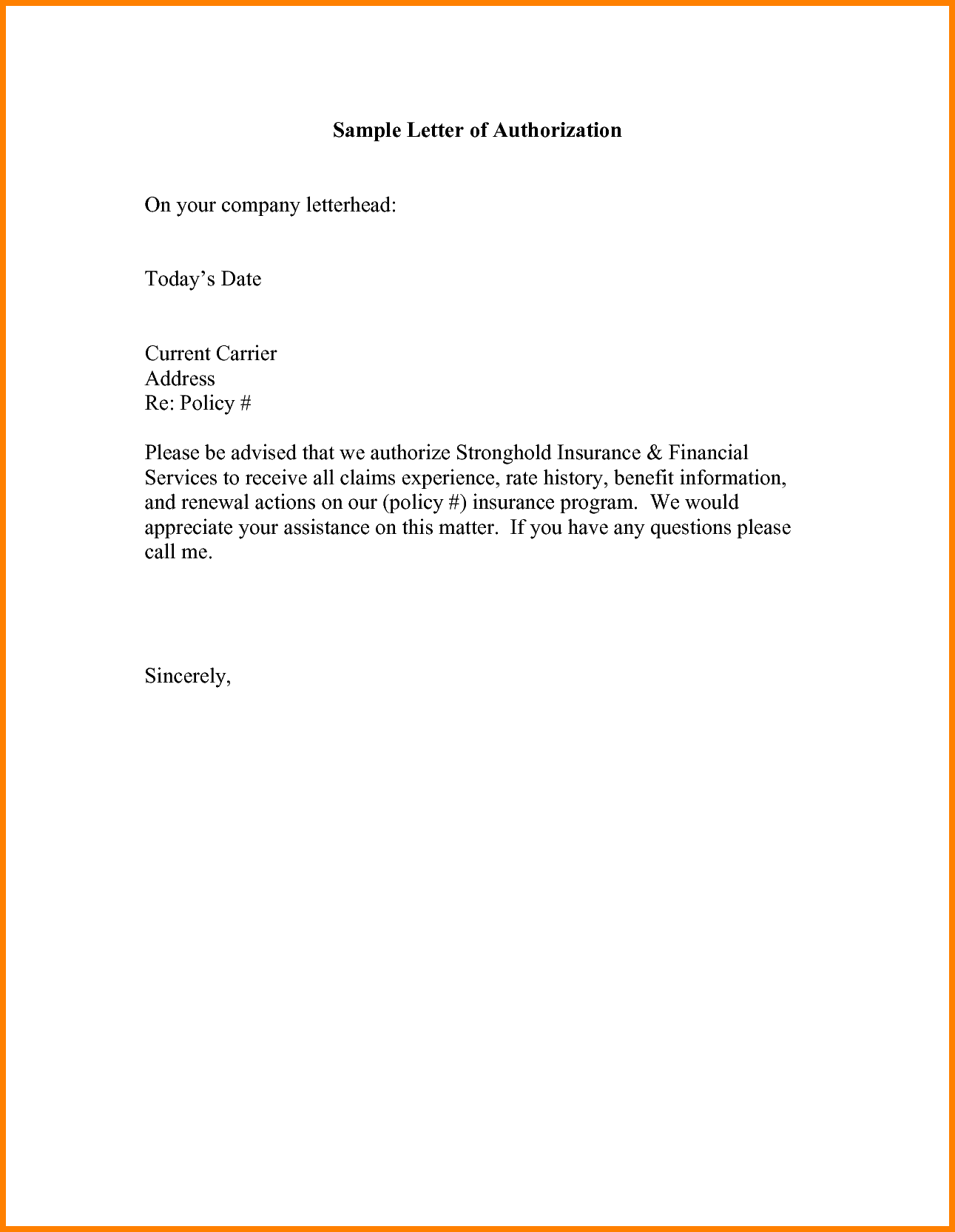 How to Write example of Authorization Letter