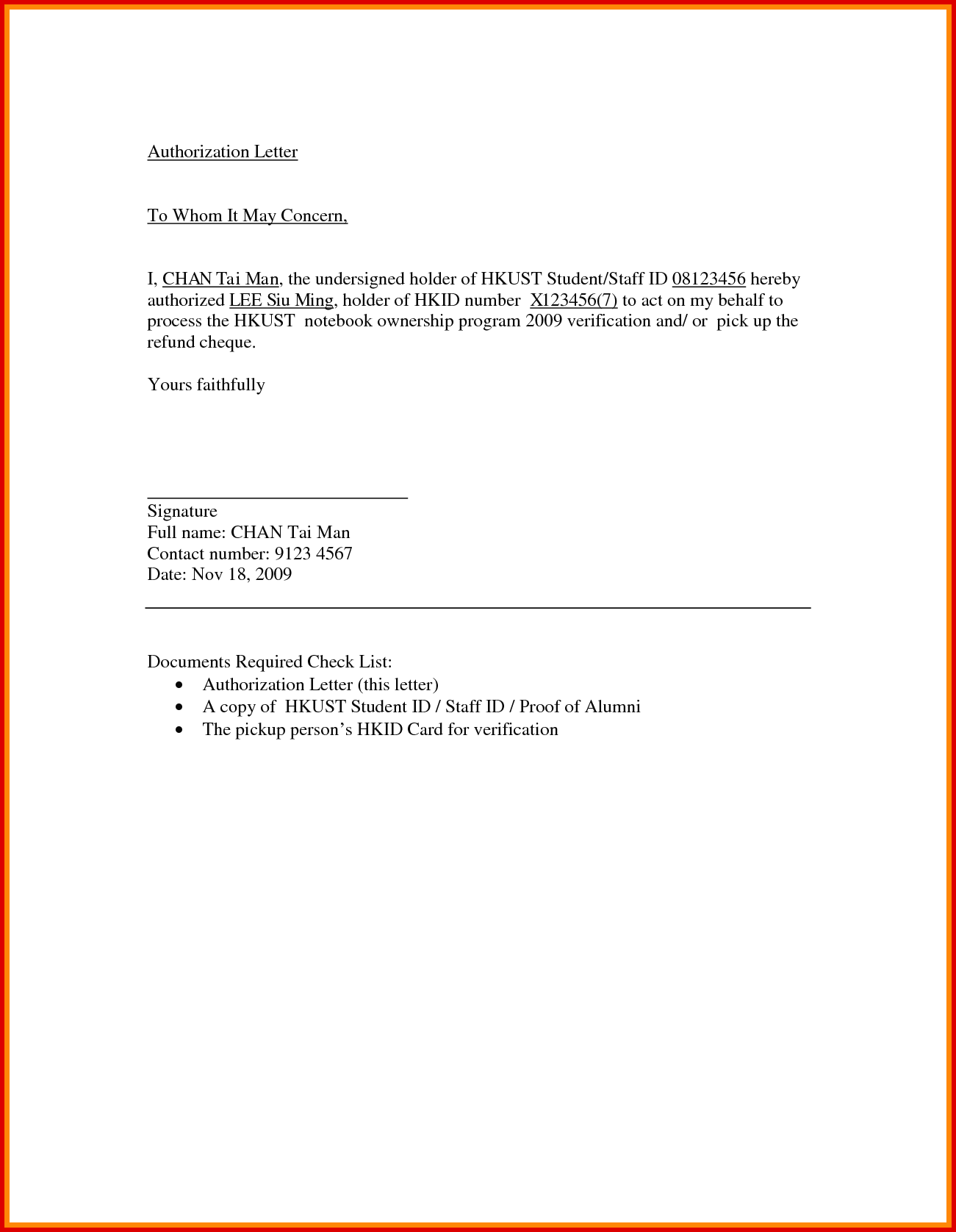 Sample Authorization Letter to Pick up Documents