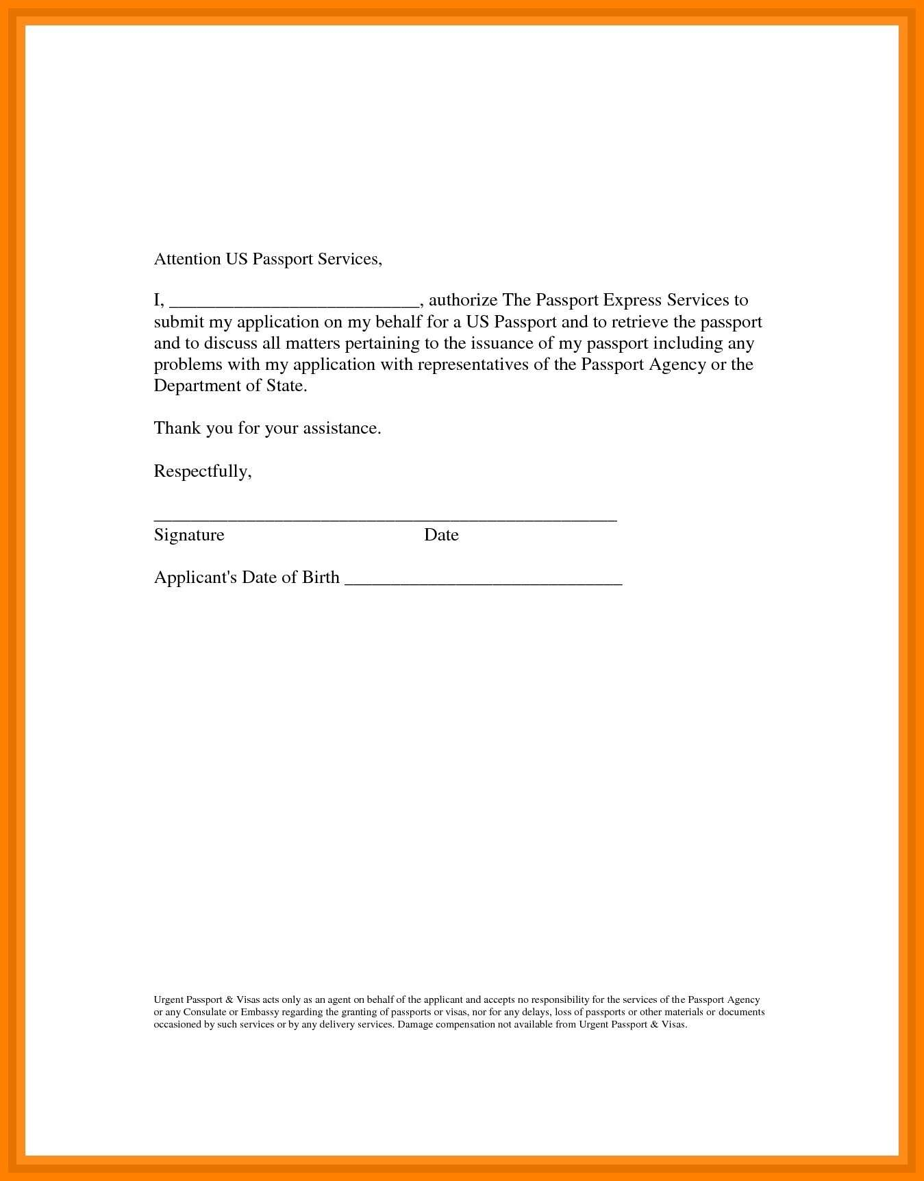 authorization letter to collect passport on my behalf india