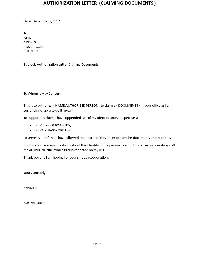 How to Write Authorization Letter to claim