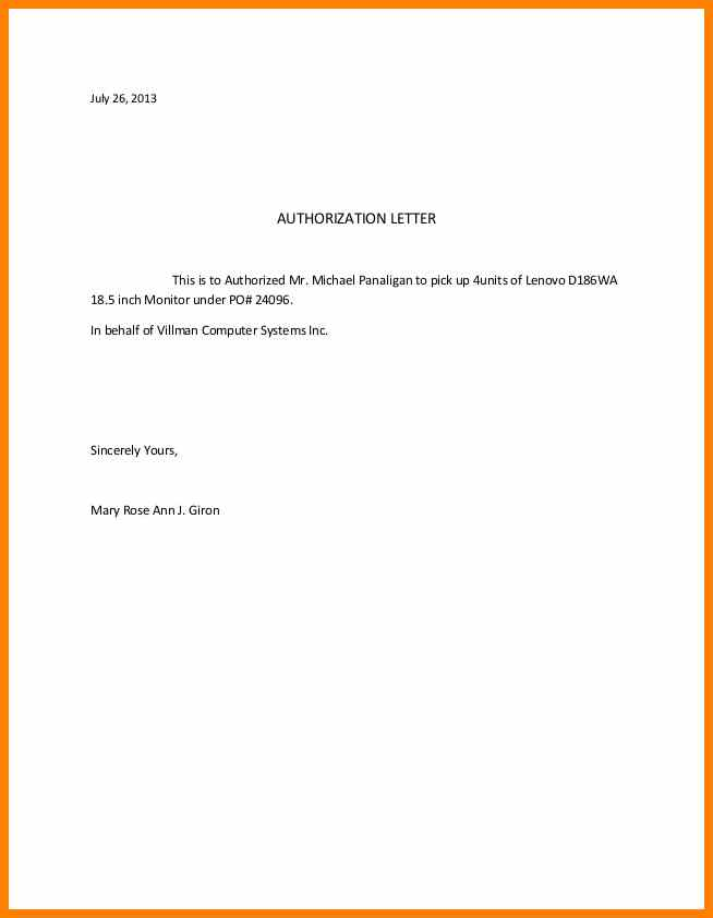sample of authorize letter