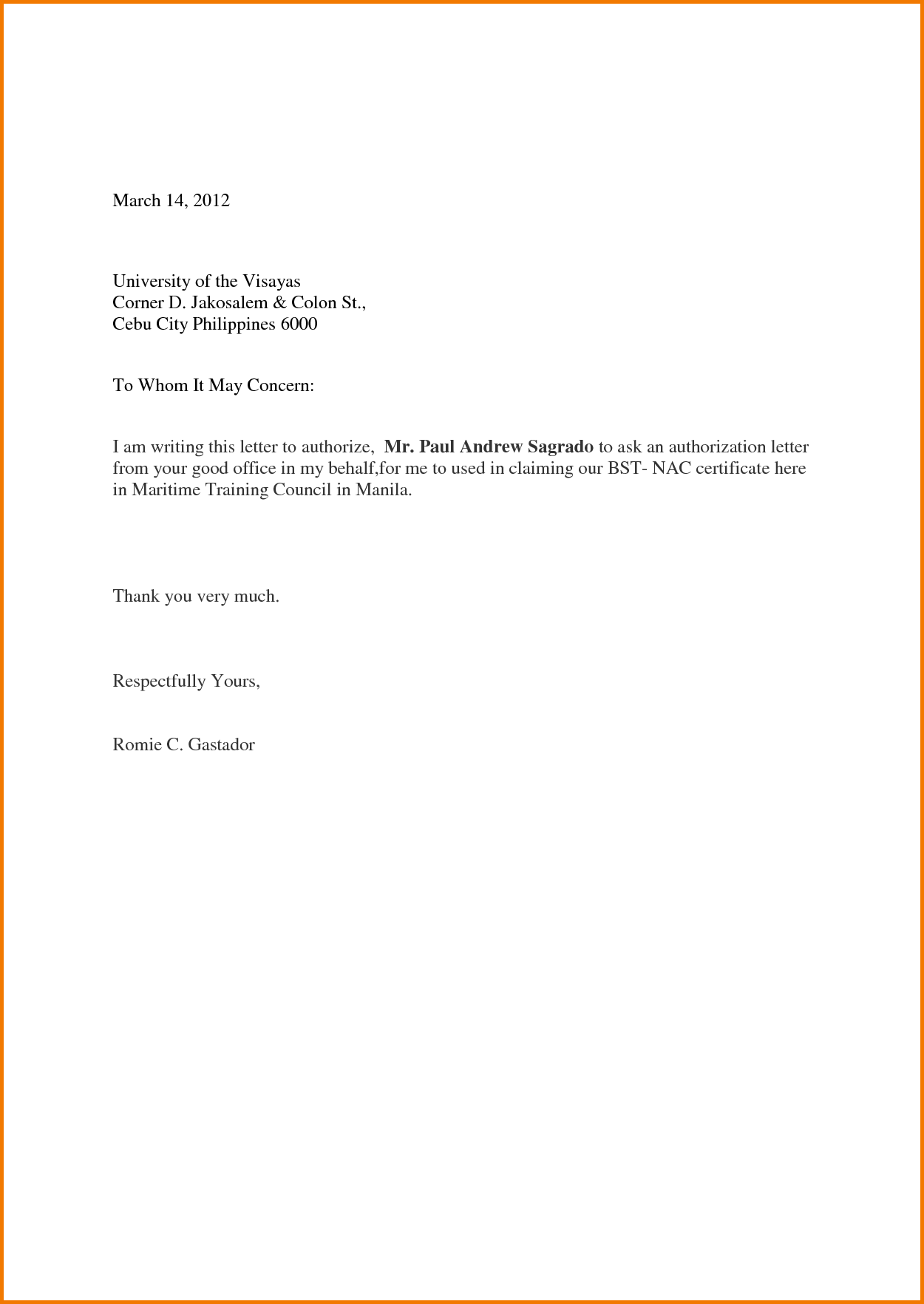 Simple Authorization Letter Sample to Act on Behalf