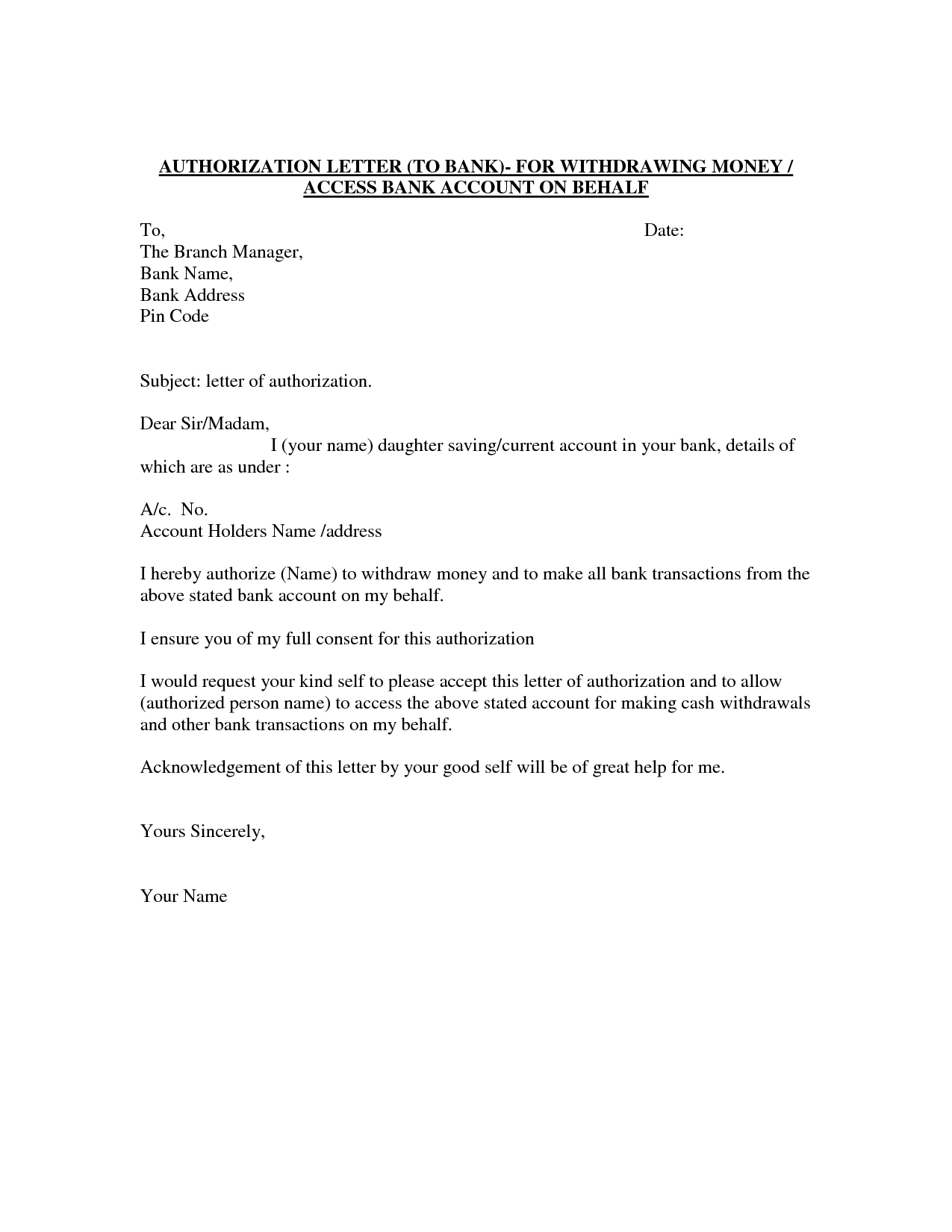 Sample Authorization Letter to Bank to Withdraw Money