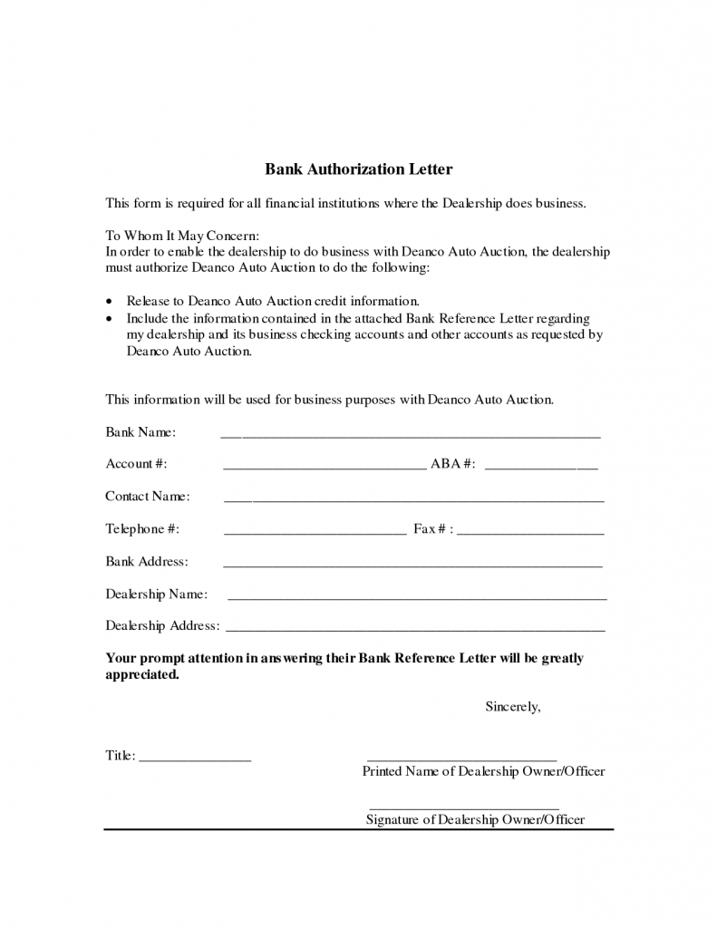 Sample Authorization Letter to Bank Collect Documents