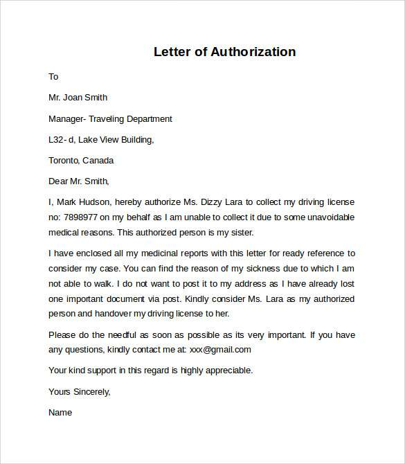 Sample Letter of Authorization to Represent Company