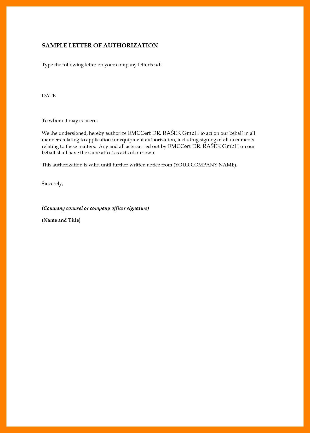 Authorization Letter Sample to Act on Behalf PDF