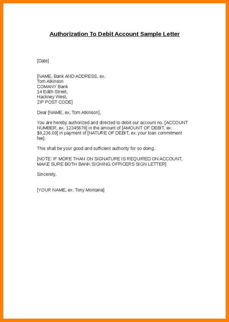 Authorization Letter to Bank for Banking Transaction