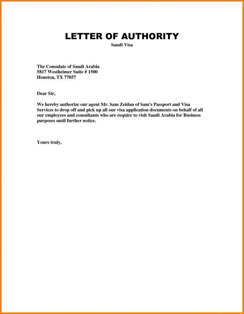 Authorization Letter for Personal Representative Example