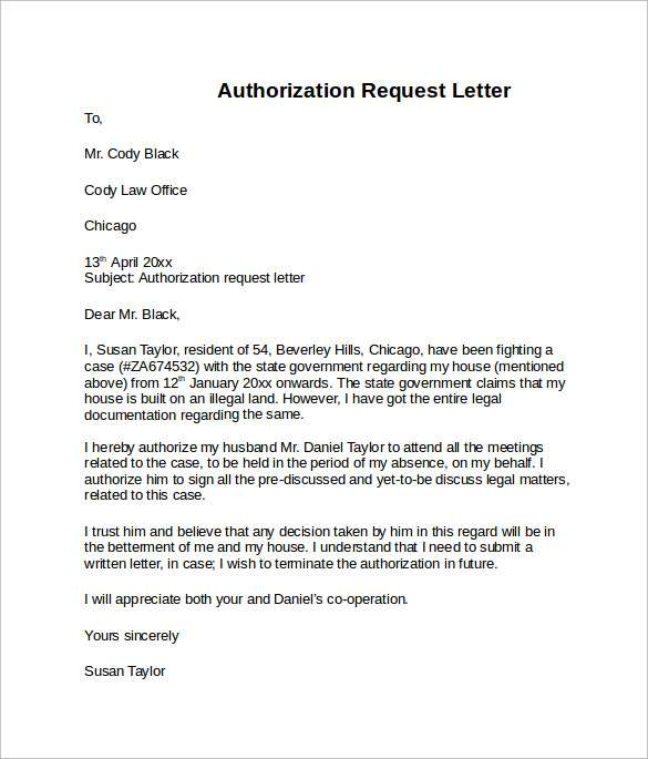 Example of Authorization Letter for Claiming