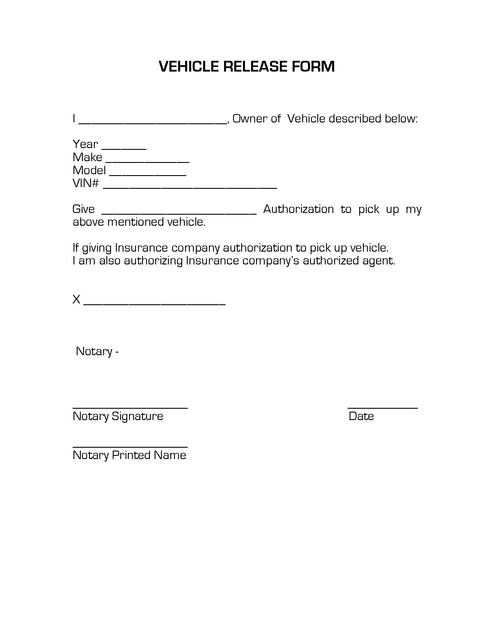 Authorization Letter to Pick Up Car