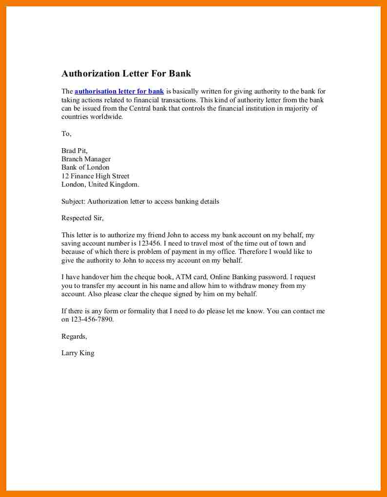 Authorization Letter to Claim Money from Bank