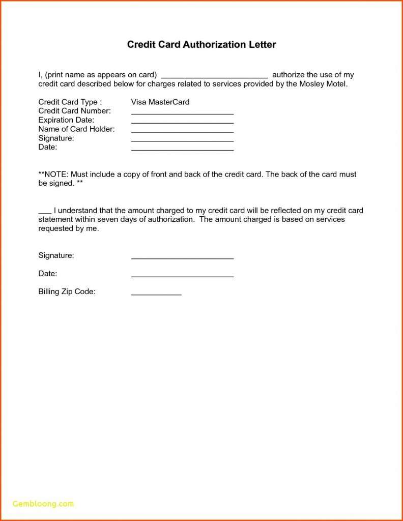 Authorization Letter to use Credit Card for Hotel Booking