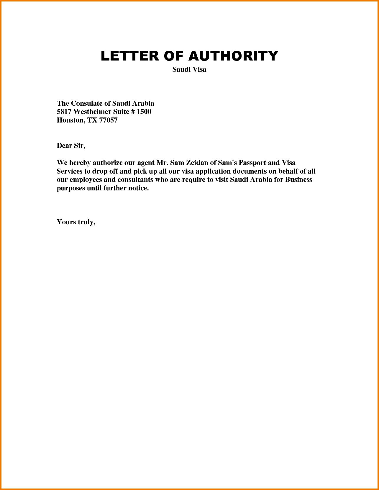 loa Letter of Authorization Sample