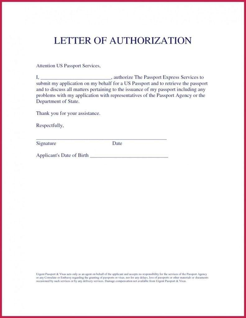 Authorization Letter Sample to Process Printable Documents
