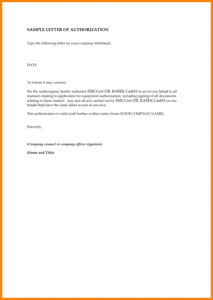 Authorization Letter for Representative to Transact Business