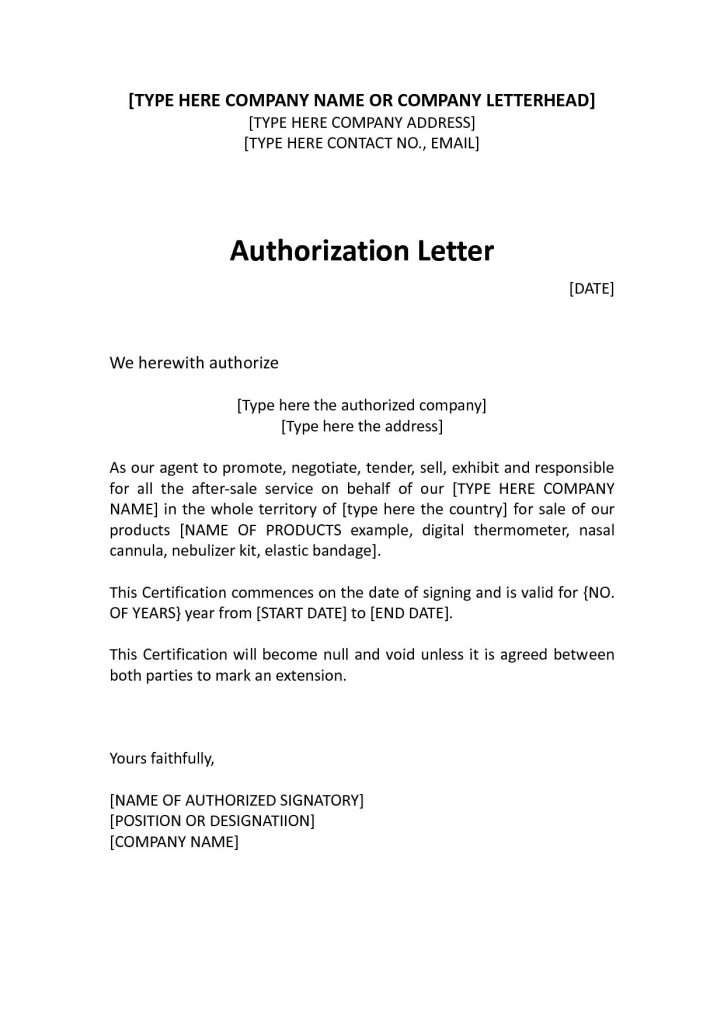Format of Authorization Letter for a Person