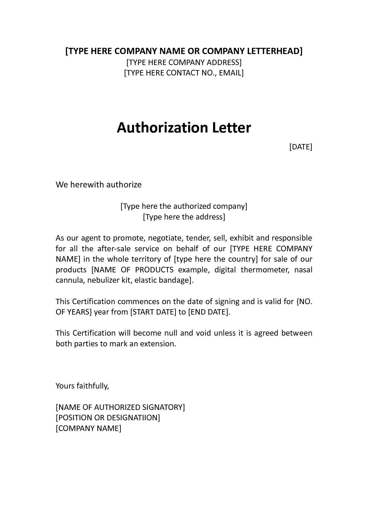 Letter of Authorization Form Sample