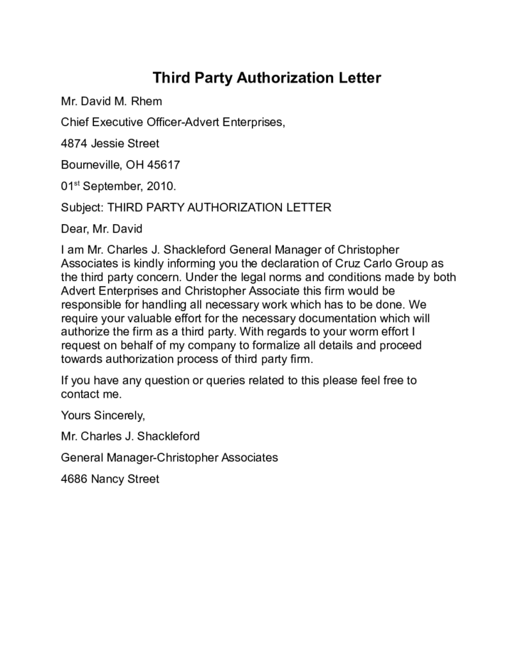 Third Party Authorization Letter Template