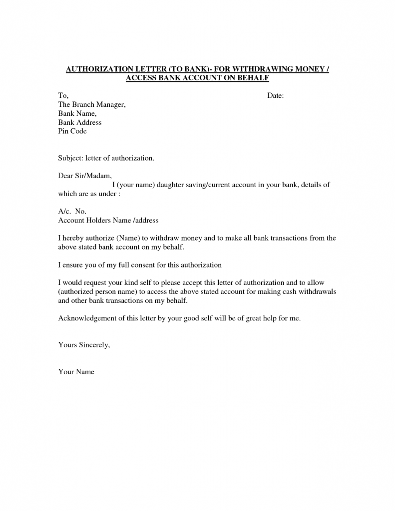 Format of Authorization Letter to Bank
