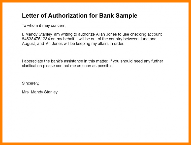 Authorization Letter for Cheque Book Collection Format