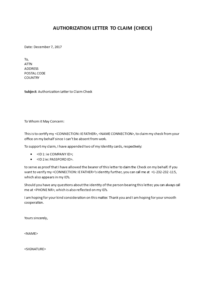 Sample Authorization Letter to Claim Check