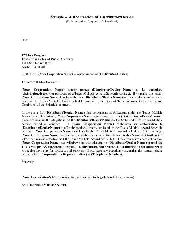 Distributor Authorization Letter Sample