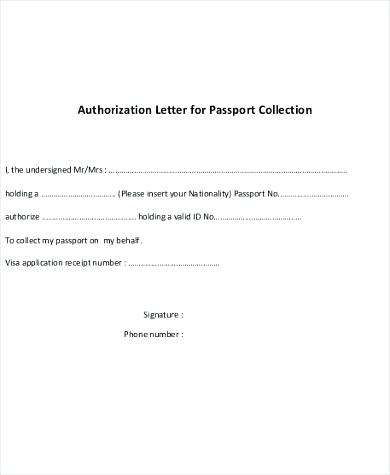 Format of Authorization Letter for Collecting Documents