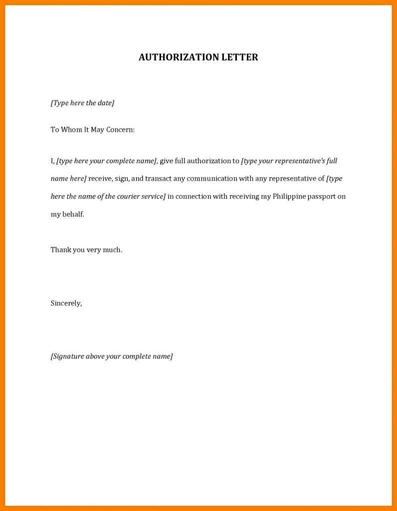 Sample Form of Authorization Letter
