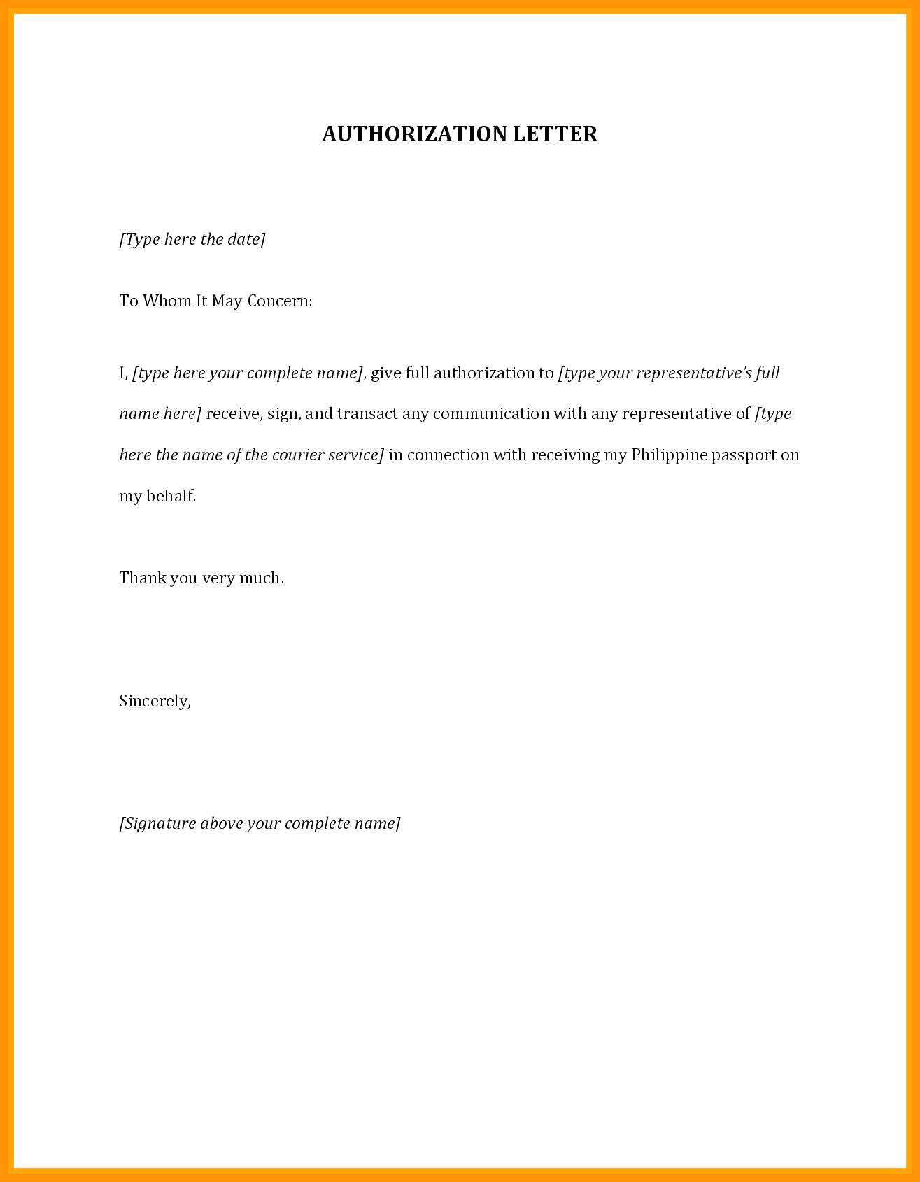 Sample Letter Of Authorization To Represent Authorization Letter