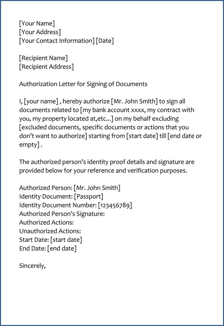 Sample Authorization Letter to Sign Documents on My Behalf